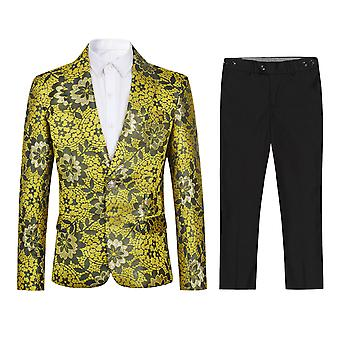 Homemiyn Boy's Two-piece Set Embroidered Single Row One Button Suit (top + Pants)