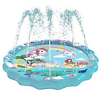 3-in-1 Splash Pad, 67in aufblasbarer Sprinkler für Kinder und Kleinkinderbecken zum Lernen (Spitzeneinhorn)