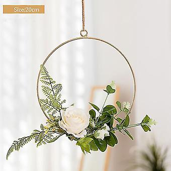 Round INS Wrought Iron Wreath Wall Hanging Simulation Flower Home Decoration Wedding Scene Aerial