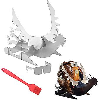Motorcycle Beer Can Chicken Roaster Holder Portable For Outdoor Grill(Rooster)