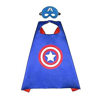 Κάπες υπερηρώων και μάσκα για τα παιχνίδια υπερηρώων παιδιών και το συμβαλλόμενο μέρος κοστουμιών υπερηρώων (Καπετάνιος Αμερική)