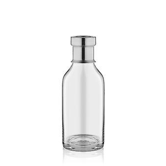 VZO0003 Jarrón de vidrio de botella transparente con punta de plata | 23cm