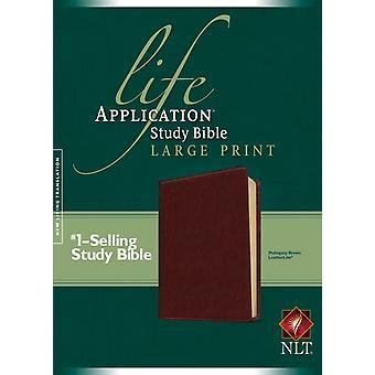 NLT الحياة تطبيق دراسة الكتاب المقدس طباعة كبيرة الماهوجني براون من قبل تحريرها Tyndale