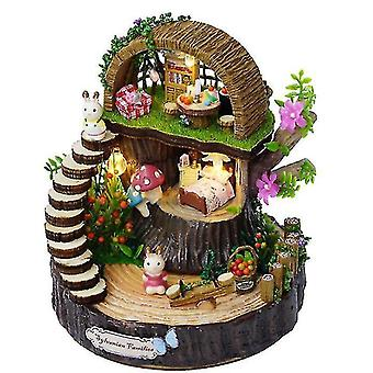 Fantasy Forest Diy Hut Hand roterende Sky City Music Box Music Box (GROUP1)