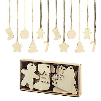12 Wooden 5cm Christmas Decoration or Gift Tag Shapes