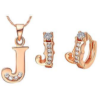 (J)  Alphabet Rhinestone Womens 26 Initial Letter Huggie Earrings Necklace Jewelry Set Rose Gold