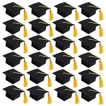 Graduation Candy Boxes, 24pcs Doctoral Cap Shaped Gift Box Candy Chocolate Sweet Box With Yellow Tassel For Graduation Party Favor Decorations, Black