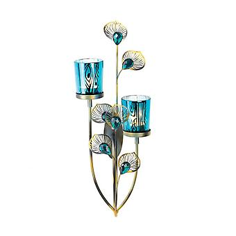Gallery of Light Peacock Feathers Candle Wall Sconce, Pack of 1