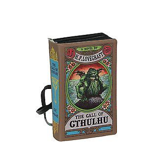 Brun vinyl samtalet av Cthulhu Lovecraft Book Handväska Nyhet Koppling Handväska Crossbody Väska