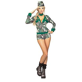 Army Girl Sequins Military Soldier Camo Combat Sexy Women Costume