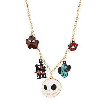 2pcs Halloween Necklace Holiday Fun Castle Ghost Head Pendant Alloy Drop Jewelry