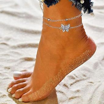 Bracelet de cheville pour dames, Papillon 14k, Argent, Réglable, Bijoux, Cheville, Cadeau pour dames, Adolescent