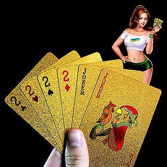 Pvc Gold Poker Lavable Durable 24 K Gold Cartes de Poker Gold Foil Poker Cadeaux