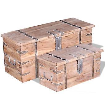 Chunhelife Zweiteilige Aufbewahrung Truhe Set Akazienholz