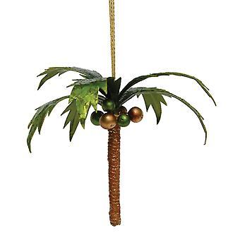 Tropical Coconut Palm Tree Capiz Shell Holiday 8 Inch Ornament