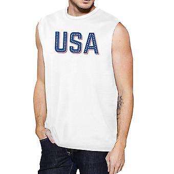EUA com estrelas Mens camisa sem mangas engraçado dia da independência tanques