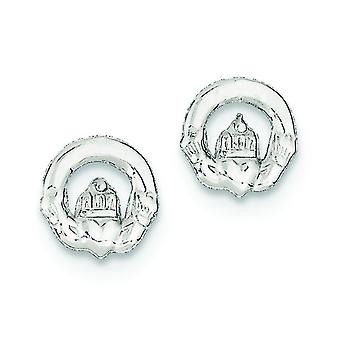 925 Sterling Silver Polished Post Earrings Irish Claddagh Celtic Trinity Knot Mini for boys or girls Earringss