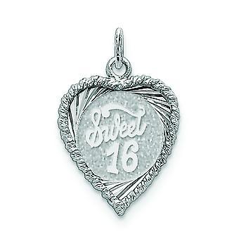 925 sterling sølv solid facetteret poleret flad tilbage indgravelig sød seksten skive charme-1,8 gram