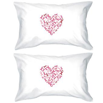 Hjerte rosa sløyfe Dekorative Pillow tilfeller Breast Cancer Awareness