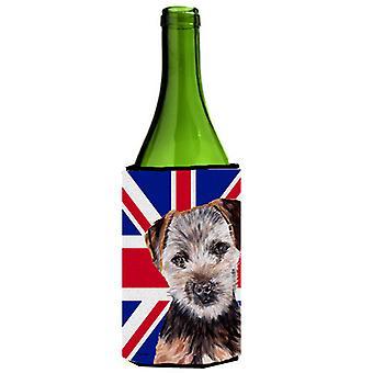 Norfolk Terrier cucciolo con inglese Union Jack bandiera britannica bottiglia di vino bevanda