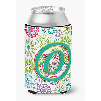 Letter O Flowers Pink Teal Green Initial Can or Bottle Hugger