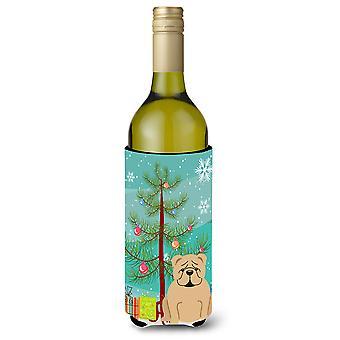 Merry Christmas Tree Englanti Bulldog Fawn viinipullo Beverge eriste Hugger