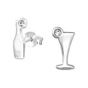 Cocktail - 925 Sterling Silver Crystal Ear Studs - W32031X