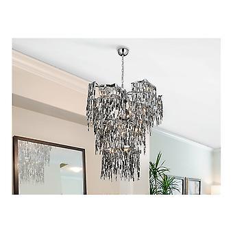 Schuller Katia 14 Light Glitter Chrome Designer Chandelier Ceiling Lamp