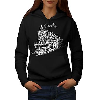 Train Note Music Music Women BlackHoodie | Wellcoda