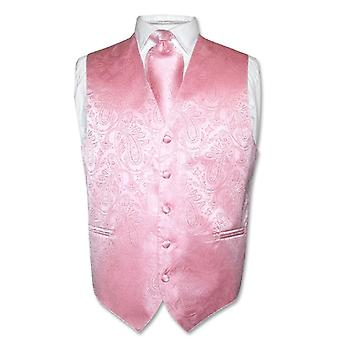 Men's Paisley Design Dress Vest & NeckTie Neck Tie Set for Suit Tux