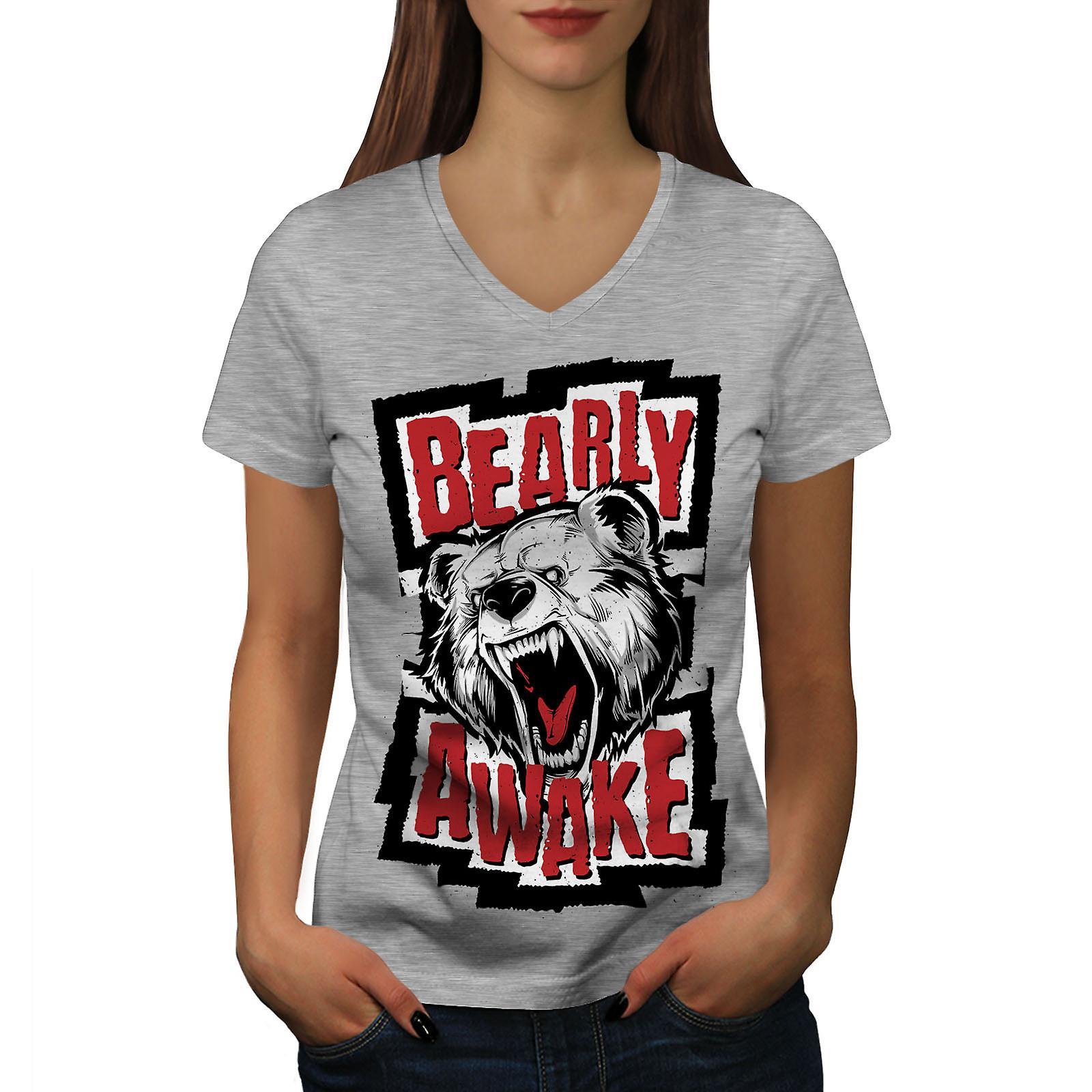 Ours réveillent bête drôle femmes GreyV-Neck T-shirt | Wellcoda