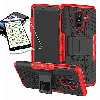 Hybrid sag 2 stykke rød for Samsung Galaxy A6 plus A605 2018 + hærdet glas taske case cover