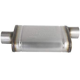 AFE Filters 49M00031 MACH Force-Xp Muffler 409 Stainless Steel 3.0 in. Inlet/Outlet Center/Offset 14 in. Length x 9 in.