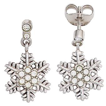 Children earrings snowflake 925 sterling silver with cubic zirconia girl earrings