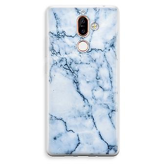 Nokia 7 Plus transparant Case (Soft) - blauw marmer