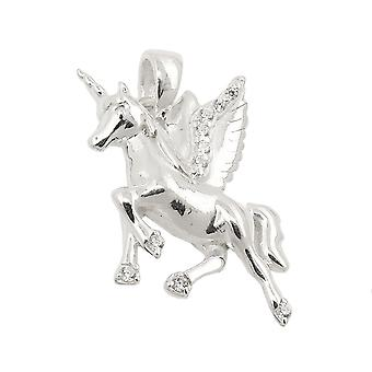 Trailer 18x15mm horse with a horn and wings cubic zirconia 925 Silver