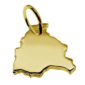 Anhänger Landkarte Kettenanhänger in gold gelb-gold in der Form von BOLIVIEN