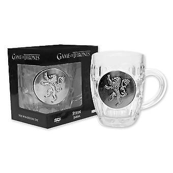 Spel van tronen glas bier mok Lannister logo glas, plaat gemaakt van kunststof, in geschenkdoos met venster.