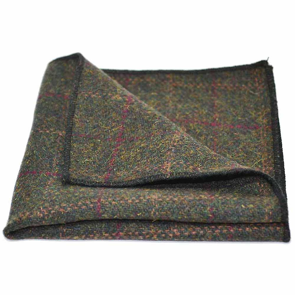 Heritage Check Moss Green Tie & Pocket Square Set - Tweed, Plaid Country Look | Boxed