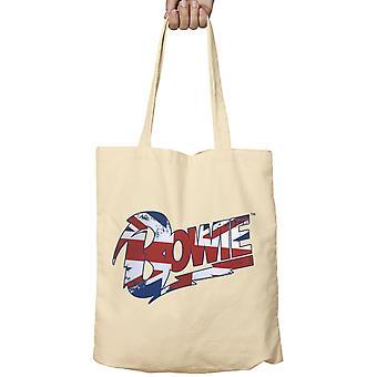 Officiella David Bowie Tote Bag Union Jack Logo Aladdin Sane nya Beige Tyg