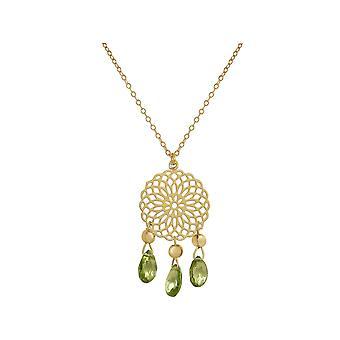 GEMSHINE halskæde Mandala Peridot ædelsten sølv, forgyldt eller Rose
