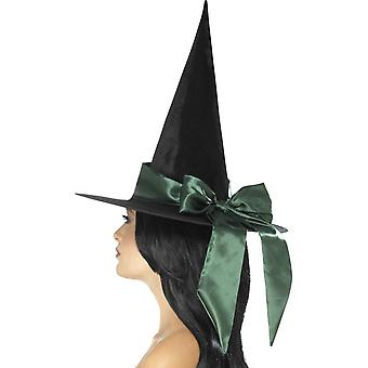 Smiffy's Deluxe Witch Hat, Black, With Green Bow