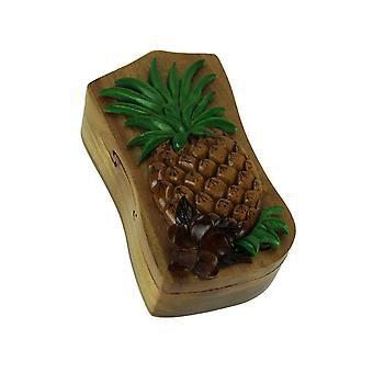 Hand Carved Wooden Tropical Pineapple Trinket Puzzle Box
