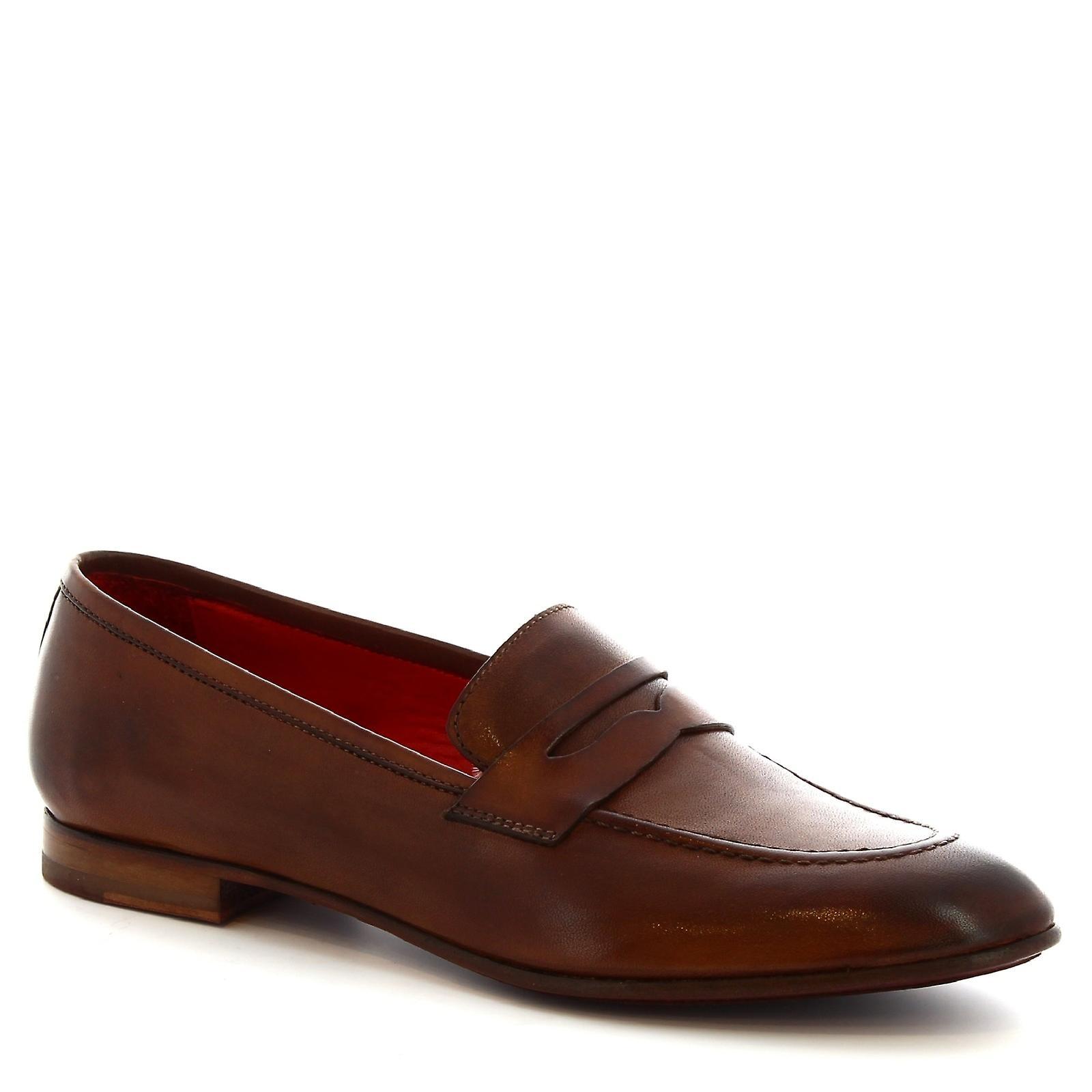 Leonardo Shoes Women's handmade slip-on loafers in brandy calf leather JOcyI