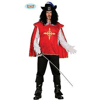 Disfraz de mosquetero rojo tirador caballeros dreis mosqueteros