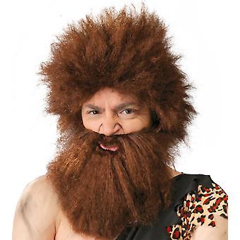 Mens Caveman Wig med skjegg Fancy kjole tilbehør