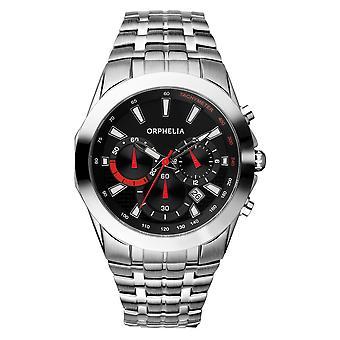 ORPHELIA Mens Chronograph Watch rijden zilver roestvrij staal 153-7901-48