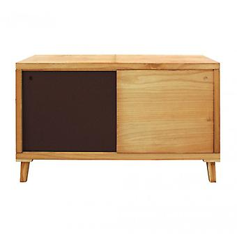 Furniture Rebecca Mobile TV Madia Low Brown 2 Ante Modern Wood 58.5x100x45