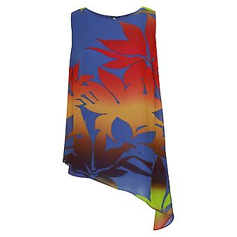 Frank Lyman Asymetric Tropical Print Sleeveless Top