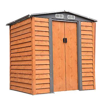 Outsunny 7ft x 5ft Metal Garden Shed House Hut Gardening Tool Storage with Foundation and Ventilation Brown with wood grain 193L x 152W x 203H cm